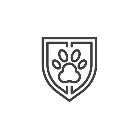 Pet protection shield line icon. Pet insurance linear style sign for mobile concept and web design. Shield with animal paw print outline vector icon. Symbol, logo illustration. Vector graphics