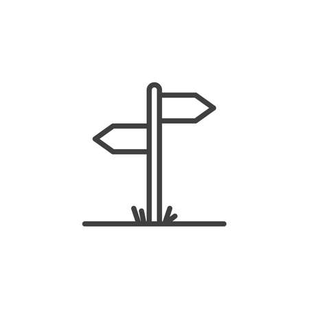Signpost line icon. linear style sign for mobile concept and web design. Road sign outline vector icon. Symbol, logo illustration. Vector graphics 向量圖像