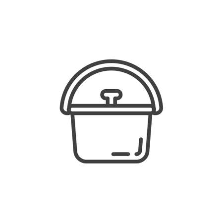 Camping pot line icon. linear style sign for mobile concept and web design. Pot with lid and handle outline vector icon. Symbol, logo illustration. Vector graphics