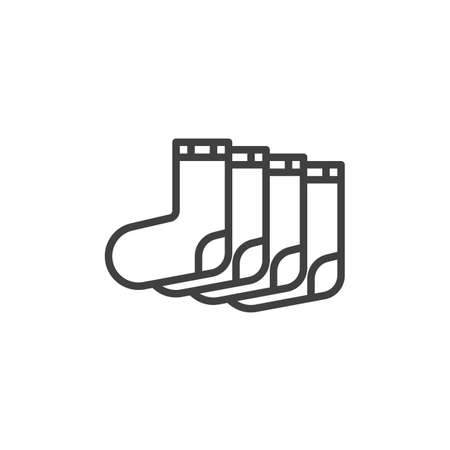 Two pair of socks line icon. linear style sign for mobile concept and web design. Socks outline vector icon. Symbol, logo illustration. Vector graphics