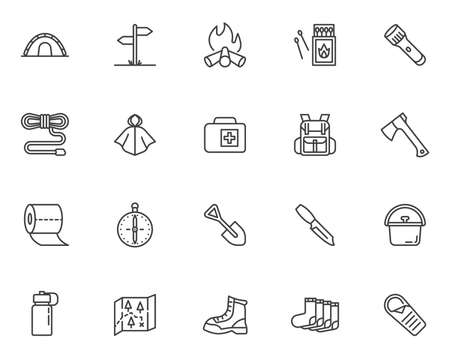 Camping hiking line icons set. linear style symbols collection, outline signs pack. vector graphics. Set includes icons as camp tent, climbing boot, backpack, raincoat, campfire, flashlight, matches Vectores