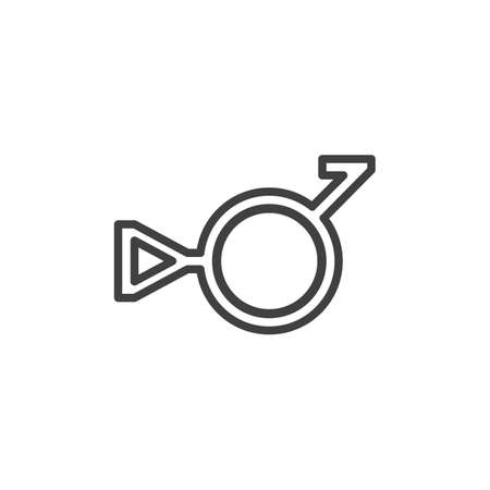 Third gender and demiboy line icon. linear style sign for mobile concept and web design. Bigender outline vector icon. Symbol, logo illustration. Vector graphics 向量圖像