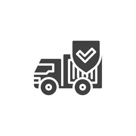 Cargo shipping insurance vector icon. filled flat sign for mobile concept and web design. Delivery truck and protection shield glyph icon. Symbol, logo illustration. Vector graphics