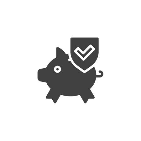 Money protection vector icon. Piggy bank and shield filled flat sign for mobile concept and web design. Savings insurance glyph icon. Symbol, logo illustration. Vector graphics 向量圖像