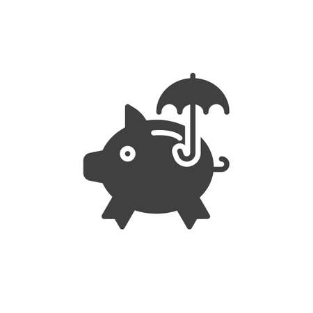 Savings insurance vector icon. filled flat sign for mobile concept and web design. Piggy bank and umbrella glyph icon. Symbol, logo illustration. Vector graphics