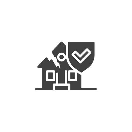 Home insurance vector icon. filled flat sign for mobile concept and web design. Broken house and protection shield glyph icon. Symbol, logo illustration. Vector graphics