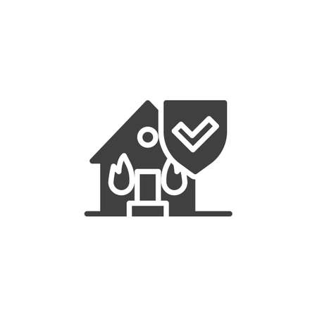 Fire insurance vector icon. filled flat sign for mobile concept and web design. House fire insurance glyph icon. Symbol, logo illustration. Vector graphics 向量圖像