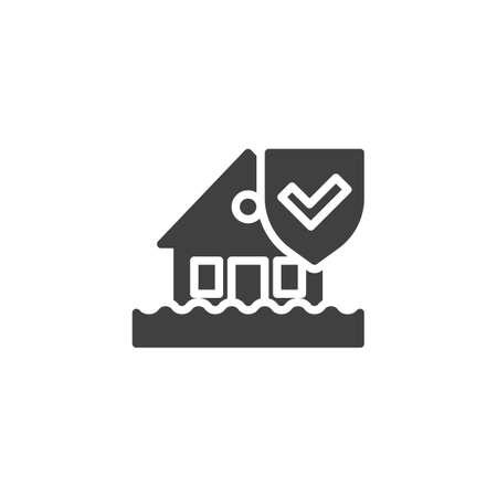 Icono de vector de seguro de desastre por inundación. Casa y escudo de protección lleno de señal plana para concepto móvil y diseño web. Icono de glifo de seguro de hogar. Símbolo, ilustración de logotipo. Gráficos vectoriales