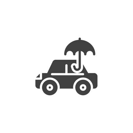 Car insurance vector icon. filled flat sign for mobile concept and web design. Car and umbrella glyph icon. Symbol, logo illustration. Vector graphics