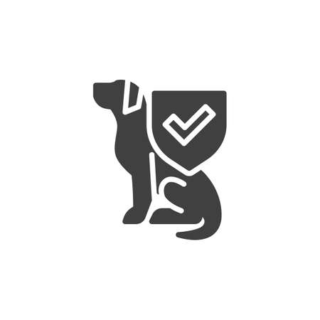 Pet Insurance vector icon. filled flat sign for mobile concept and web design. Dog and protection shield glyph icon. Symbol, logo illustration. Vector graphics 向量圖像