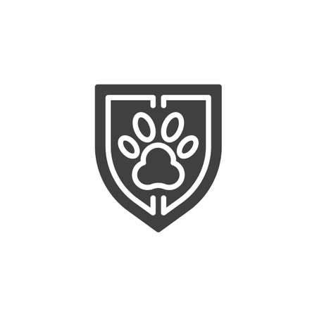 Pet protection shield vector icon. Pet insurance filled flat sign for mobile concept and web design. Shield with animal paw print glyph icon. Symbol, logo illustration. Vector graphics 向量圖像