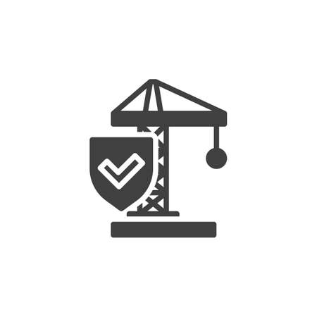 Construction insurance vector icon. filled flat sign for mobile concept and web design. Construction crane and protection shield glyph icon. Symbol, logo illustration. Vector graphics