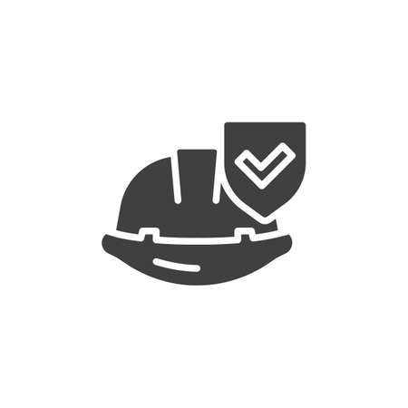 Work insurance vector icon. filled flat sign for mobile concept and web design. Hard hat with protection shield glyph icon. Safety symbol, logo illustration. Vector graphics