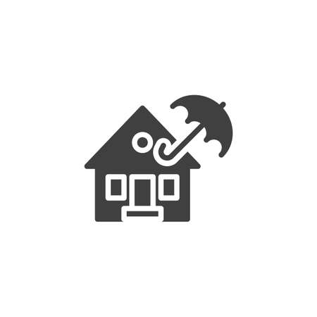 Property insurance vector icon. filled flat sign for mobile concept and web design. Home and umbrella glyph icon. Symbol, logo illustration. Vector graphics 向量圖像