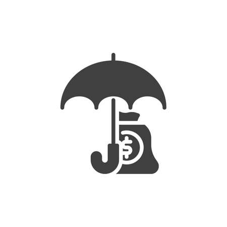 Finance insurance vector icon. Money bag and umbrella filled flat sign for mobile concept and web design. Money savings insurance glyph icon. Symbol, logo illustration. Vector graphics 向量圖像