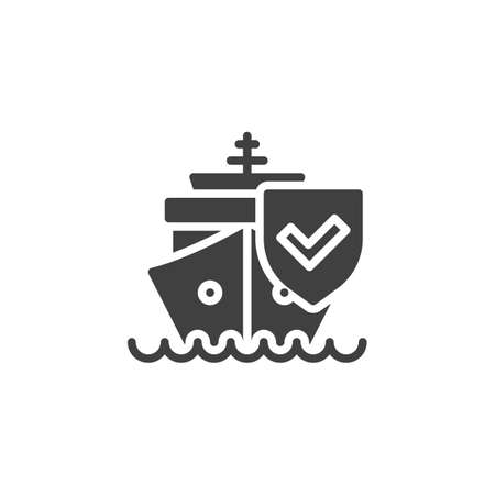 Cargo shipping insurance vector icon. filled flat sign for mobile concept and web design. Ship and protection shield glyph icon. Symbol, logo illustration. Vector graphics