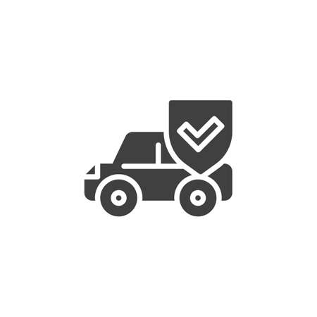 Car insurance vector icon. Auto protection shield filled flat sign for mobile concept and web design. Car protection glyph icon. Symbol, logo illustration. Vector graphics 向量圖像
