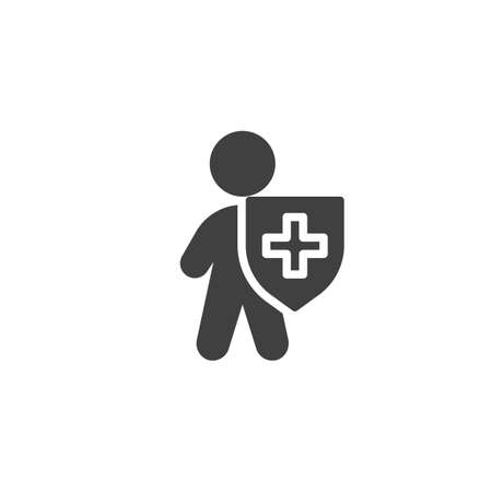 Life insurance vector icon. filled flat sign for mobile concept and web design. Man with medical shield glyph icon. Immune system symbol, logo illustration. Vector graphics 向量圖像