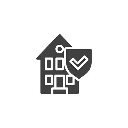 Property insurance vector icon. House with protection shield filled flat sign for mobile concept and web design. Home insurance glyph icon. Symbol, logo illustration. Vector graphics