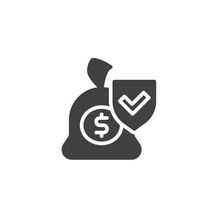 Finance insurance vector icon. Money savings filled flat sign for mobile concept and web design. Money bag with protection shield glyph icon. Symbol, logo illustration. Vector graphics