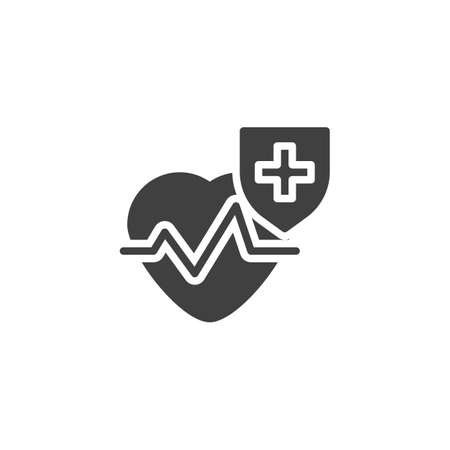 Healthcare insurance vector icon. filled flat sign for mobile concept and web design. Cardiology heart protection shield glyph icon. Symbol, logo illustration. Vector graphics
