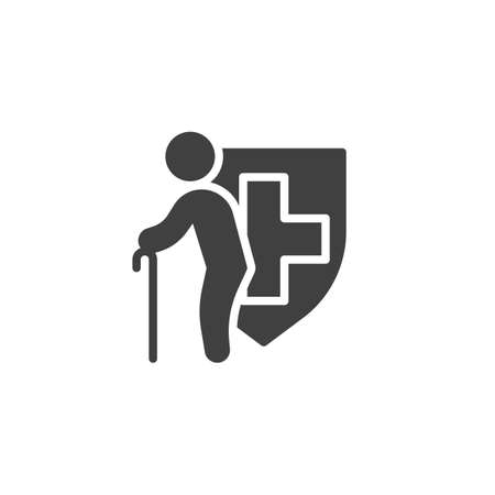 Disability insurance vector icon. filled flat sign for mobile concept and web design. Senior Health Insurance glyph icon. Symbol, logo illustration. Vector graphics 向量圖像