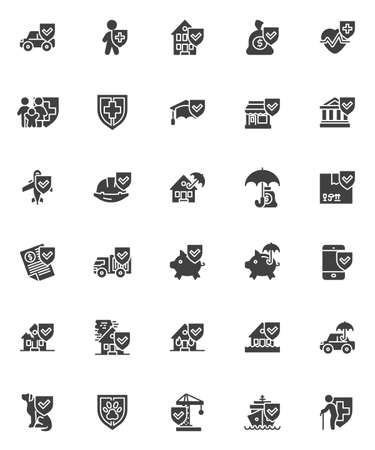 Insurance related vector icons set, modern solid symbol collection, filled style pictogram pack. Signs, logo illustration. Set includes icons as life and property insurance, finance, car, construction