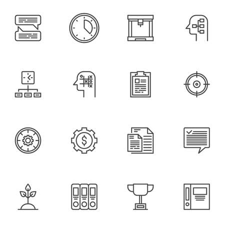 Business productivity line icons set, outline symbol collection, linear style pictogram pack. Signs illustration. Set includes icons - creative thinking, brainstorming, business management