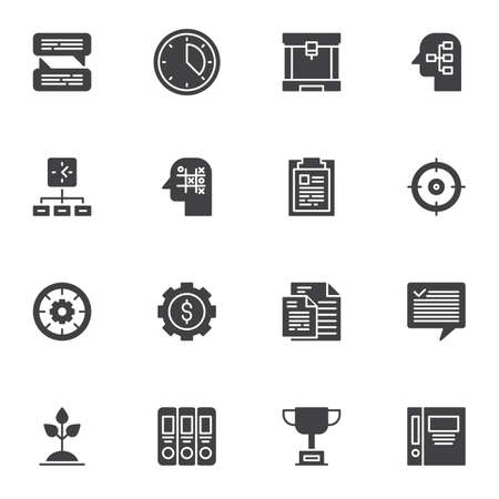 Business productivity icons set, modern solid symbol collection, filled style pictogram pack. Signs illustration. Set includes icons - creative thinking, brainstorming, business management Stock Illustratie