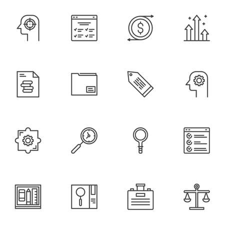 Business efficiency line icons set, business productivity outline symbol collection, linear style pictogram pack. Signs, illustration. Set includes icons as time management, grow chart