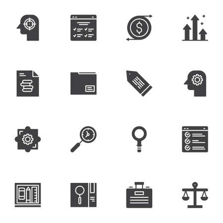 Business efficiency icons set, business productivity modern solid symbol collection, filled style pictogram pack. Signs, illustration. Set includes icons as time management, grow chart