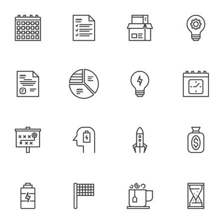 Business startup icons set, modern solid symbol collection, filled style pictogram pack. Signs illustration. Set includes icons as business productivity, time management, plan presentation