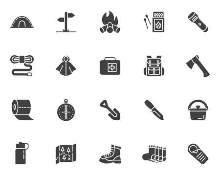 Camping hiking icons set, modern solid symbol collection, filled style pictogram pack. Signs, illustration. Set includes icons as camp tent, climbing boot, backpack, raincoat, campfire