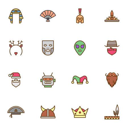 Carnival party filled outline icons set, line symbol collection, linear colorful pictogram pack. Signs, illustration, Set includes icons as cowboy hat, face mask, alien, pirate, robot