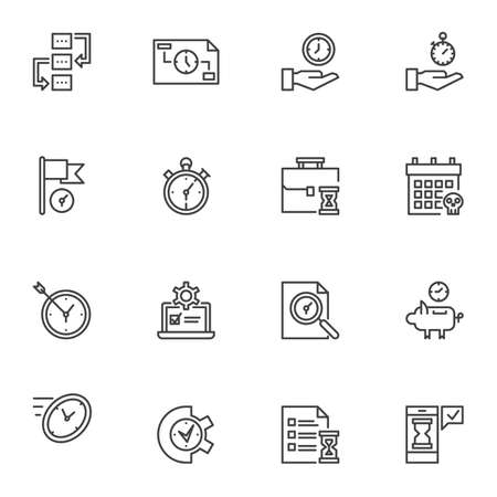 Time management line icons set, outline symbol collection, linear style pictogram pack. Signs illustration. Set includes icons as deadline, stopwatch chronometer, goal, clock time, planner Stock Illustratie
