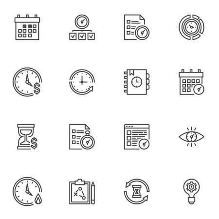 Time management line icons set, outline symbol collection, linear style pictogram pack. Signs, illustration. Set includes icons as tasks planning, calendar reminder, working hours timer