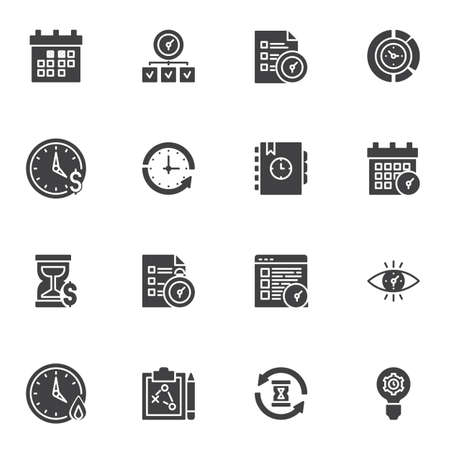 Time management icons set, modern solid symbol collection, filled style pictogram pack. Signs, illustration. Set includes icons as tasks planning, calendar reminder, working hours timer Ilustracja
