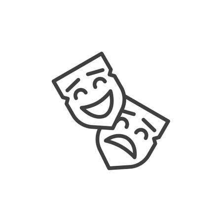 Opera theater mask line icon. linear style sign for mobile concept and web design. Happy and sad mask outline icon. Comedy and drama symbol, illustration.