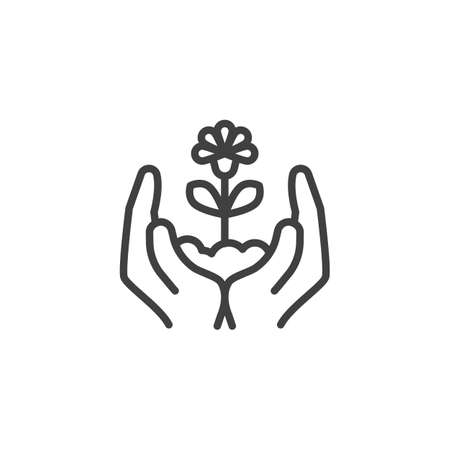 Hands with growing flower line icon. linear style sign for mobile concept and web design. Hands holding plant outline vector icon. Ecology care symbol illustration. Vector graphics