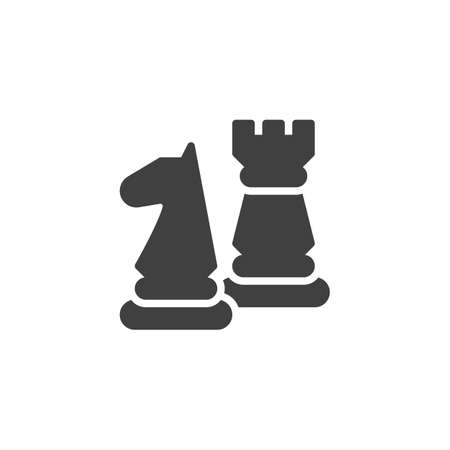 Chess pieces vector icon. filled flat sign for mobile concept and web design. Rook and knight chess glyph icon. Symbol illustration. Vector graphics Иллюстрация