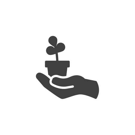 Hand holding pot with plant vector icon. filled flat sign for mobile concept and web design. Flower pot in hand glyph icon. Symbol, logo illustration. Vector graphics