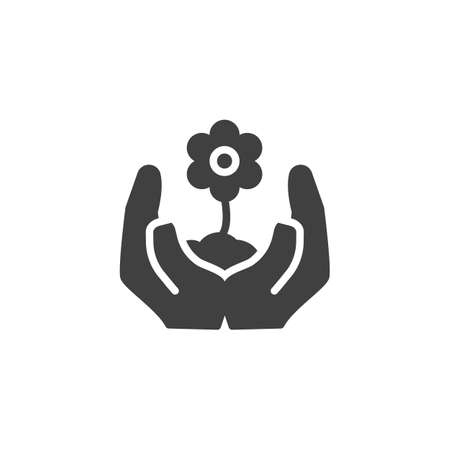 Hands with growing flower vector icon. filled flat sign for mobile concept and web design. Hands holding plant glyph icon. Ecology care symbol, logo illustration. Vector graphics