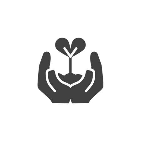 Sprout in a hand vector icon. filled flat sign for mobile concept and web design. Hands holding plant glyph icon. Environment protection symbol, logo illustration. Vector graphics