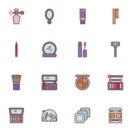 Beauty and makeup filled outline icons set, line vector symbol collection, linear colorful pictogram pack. Signs, logo illustration, Set includes icons as moisturizer cream, perfume bottle, brush Illusztráció