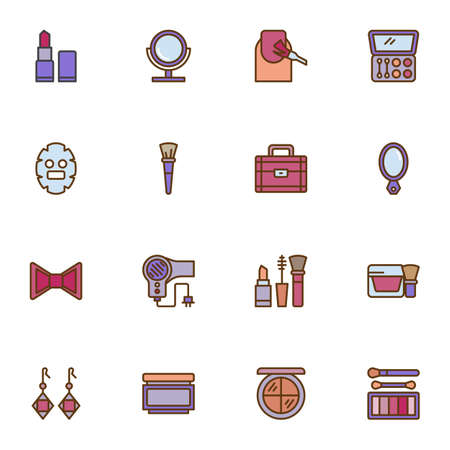 Make-up and cosmetic filled outline icons set, line vector symbol collection, linear colorful pictogram pack. Signs, logo illustration, Set includes icons as lipstick, eyeshadow, woman face, cream Illusztráció