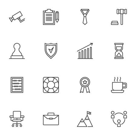Business related line icons set, outline vector symbol collection, linear style pictogram pack. Signs, logo illustration. Set includes icons as contract document, deadline time, accounting, teamwork Illusztráció