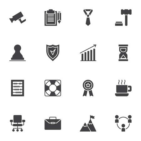 Business related vector icons set, modern solid symbol collection, filled style pictogram pack. Signs, logo illustration. Set includes icons as contract document, deadline time, accounting, teamwork