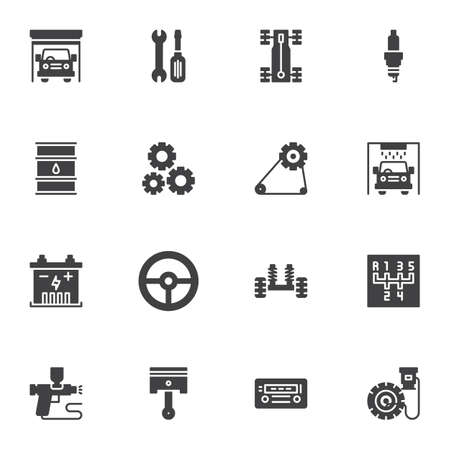 Car service garage vector icons set, modern solid symbol collection, auto repair filled style pictogram pack. Signs, logo illustration. Set includes icons as car wash, engine gear, oil, chassis