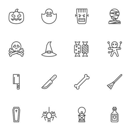Happy Halloween line icons set, outline vector symbol collection, linear style pictogram pack. Signs logo illustration. Set includes icons - pumpkin, ghost, voodoo doll, spider, coffin, candies, skull