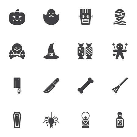 Happy Halloween vector icons set, modern solid symbol collection, filled style pictogram pack. Signs logo illustration. Set includes icons - pumpkin, ghost, voodoo doll, spider, coffin, candies, skull